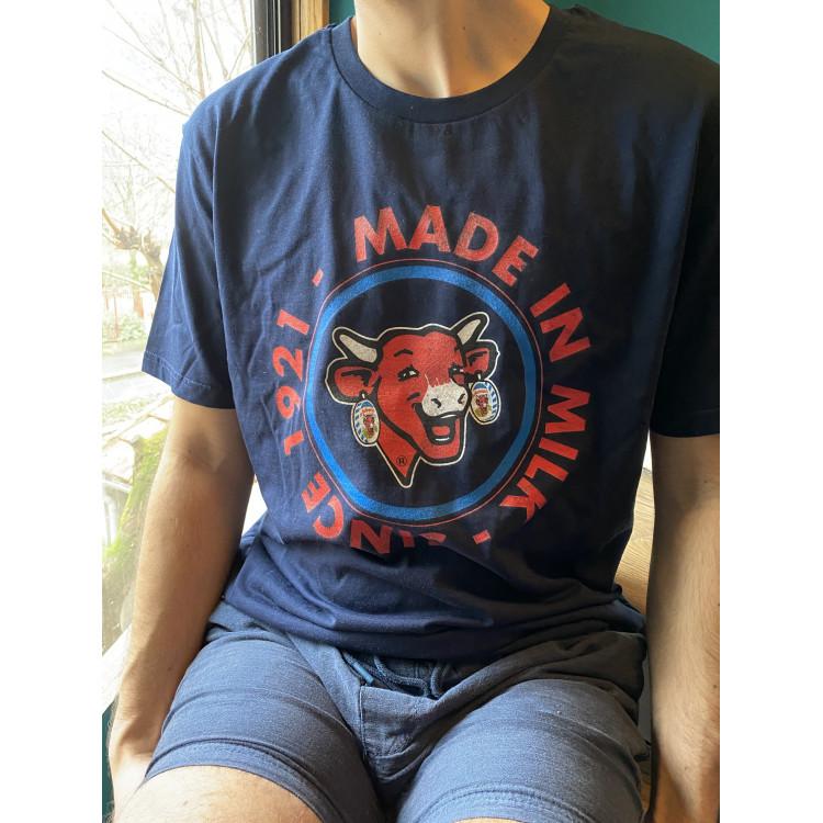 "Tee-shirt HOMME coton bio La vache qui rit® ""Made in Milk since 1921"" - BLEU"