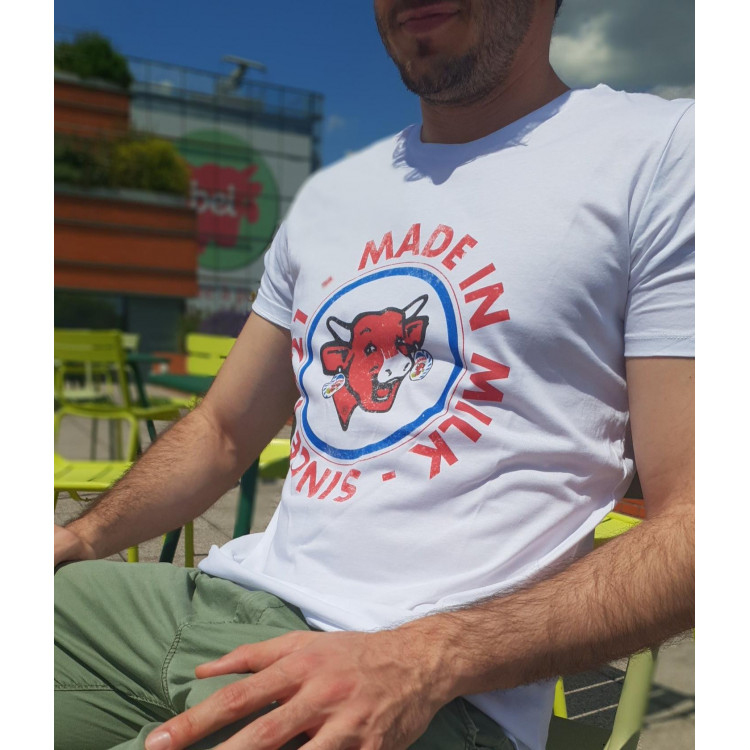 "Tee-shirt HOMME coton bio La vache qui rit® ""Made in Milk since 1921"""