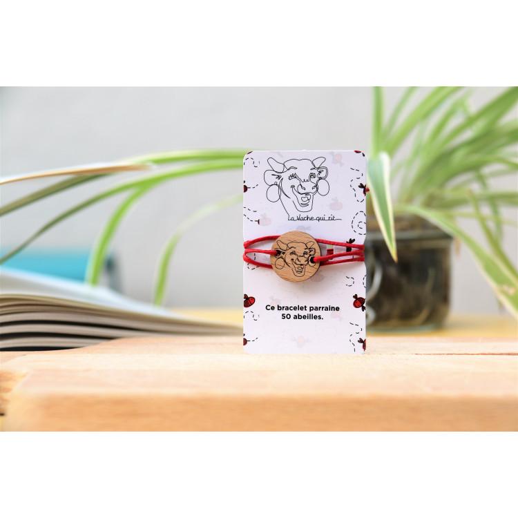 """Bracelet La vache qui rit® en bois """"50 abeilles parrainées"""""""