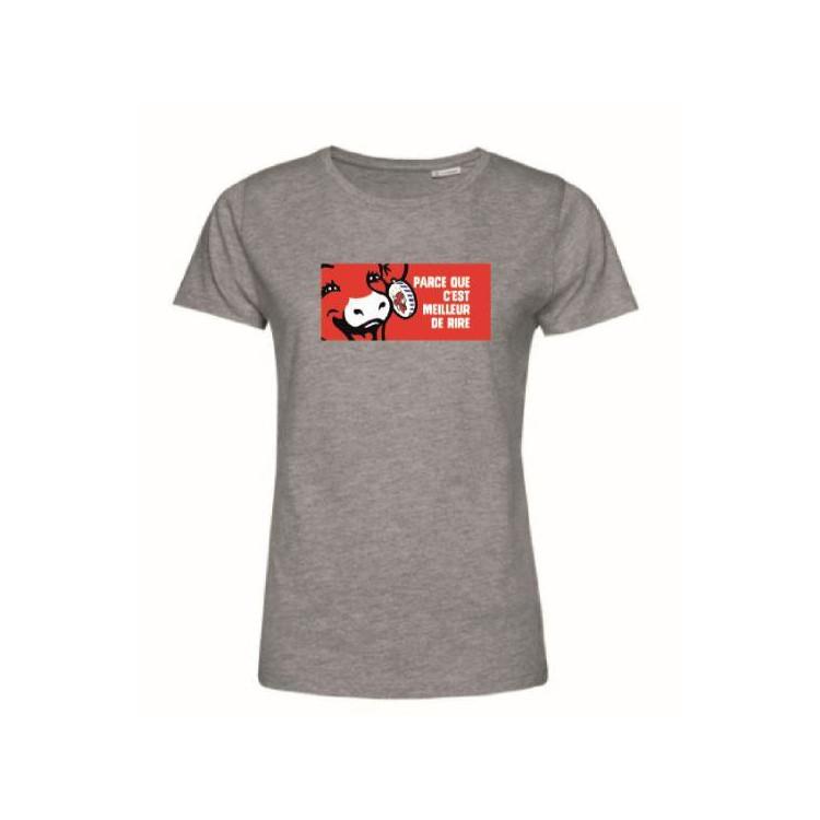 """Tee-shirt Femme Gris """"Parce que c'est meilleur de rire"""" La vache qui rit®"""