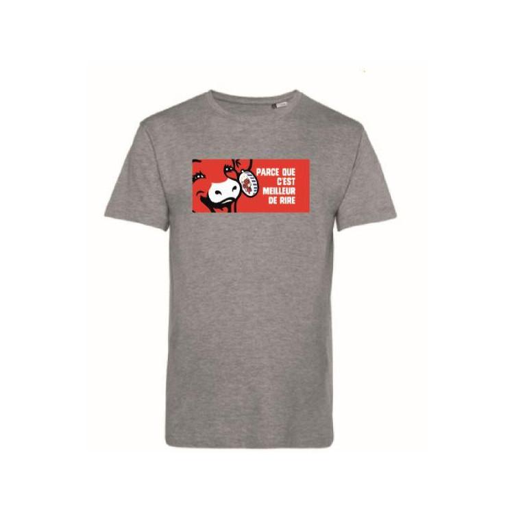 """Tee-shirt Homme Gris """"Parce que c'est meilleur de rire"""" La vache qui rit®"""