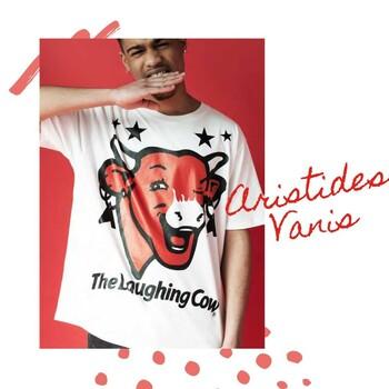 @aristidesvanis est un designer spécialisé dans la création de vêtements unisexes. Nous avons collaboré avec lui en 2019   #100ansLaVacheQuiRit #LaVacheQuiRit