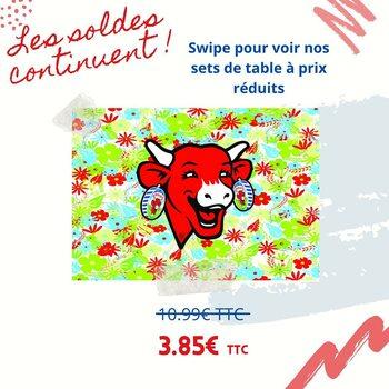 [Soldes été]  Les soldes continuent chez @lavachequirit_boutique !   Envie d'un repas estival vachement sympa ?   Retrouvez tous nos sets de table à seulement 3.85€ sur notre boutique ! 😍  Soldes du 30/06/2021 au 27/07/2021, dans la limite des stocks disponibles.